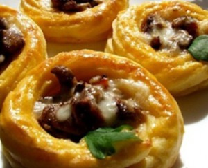 A delicious recipe for mushrooms in potato baskets, culinary dish for New Year's table in 2017